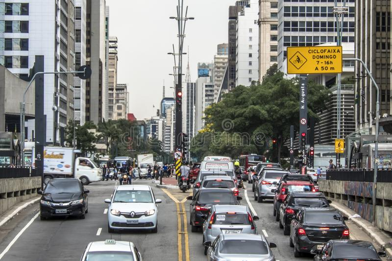 Paulista Avenue is one of the most important thoroughfares of the city of Sao Paulo, one of the main financial centers of the city. Sao Paulo, Brazil, October 17 royalty free stock photo