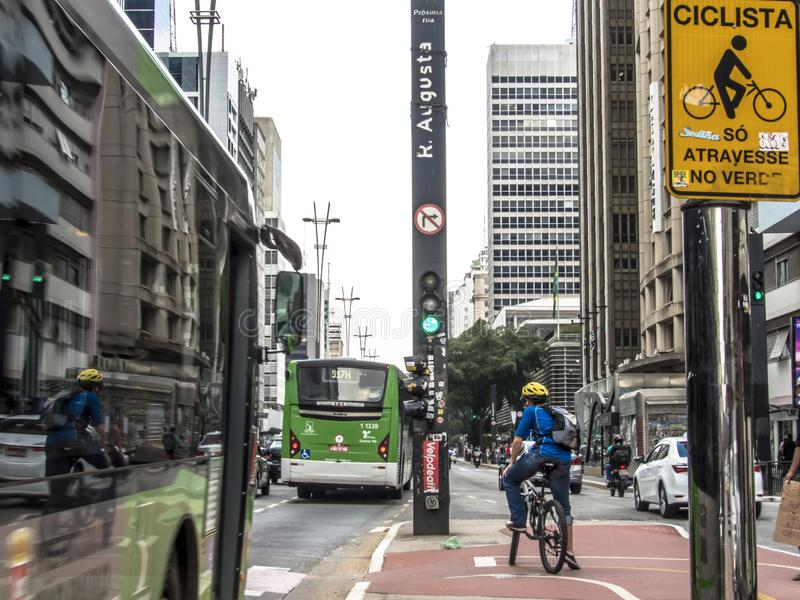 Paulista Avenue is one of the most important thoroughfares of the city of Sao Paulo, one of the main financial centers of the city. Sao Paulo, Brazil, October 17 royalty free stock photos