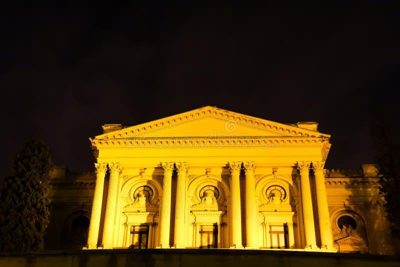 Sao Paulo/Brazilië - Jun 20 19: Ipirangamuseum, bij nacht wordt verlicht die royalty-vrije stock afbeeldingen