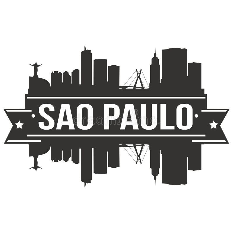 Sao Paulo Brazylia Ameryka Południowa ikony sztuki projekta linii horyzontu miasta Wektorowej Płaskiej sylwetki Editable szablon royalty ilustracja