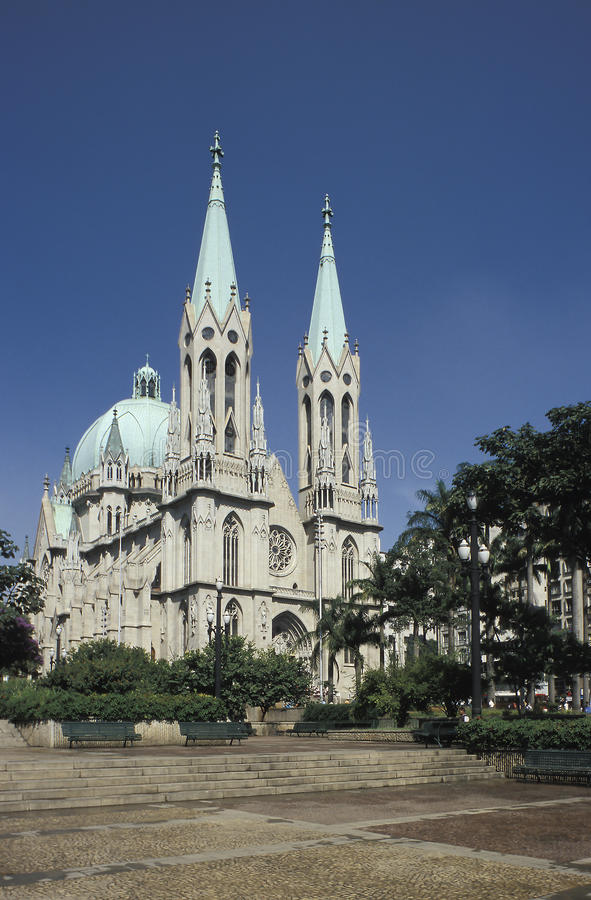 Sao Paulo cathedral, Brazil. The Catedral Metropolitana (Cathedral) of Sao Paulo, Brazil, is a huge neo-Gothic structure located in Praça da Sé (Main stock photo
