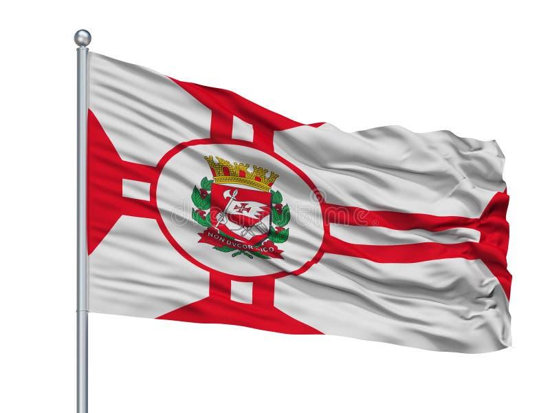 Sao Paulo City Flag On Flagpole, el Brasil, aislado en el fondo blanco ilustración del vector