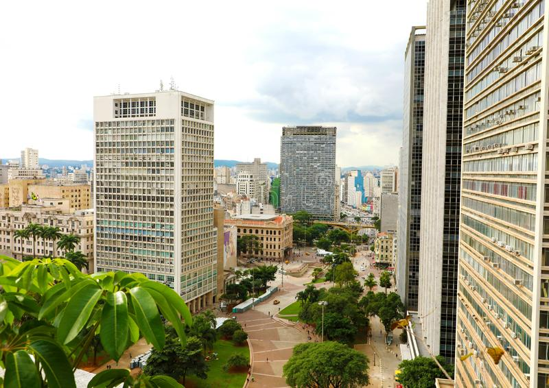 Sao Paulo Cityscape Downtown with Anhangabau Valley, Brazil stock photography