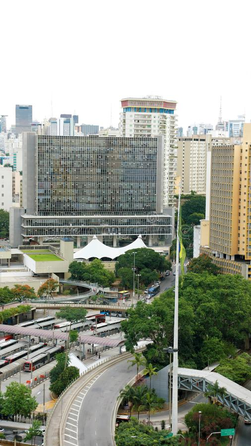 Sao Paulo Cityscape Downtown with Terminal Banderia, Brazil royalty free stock photography