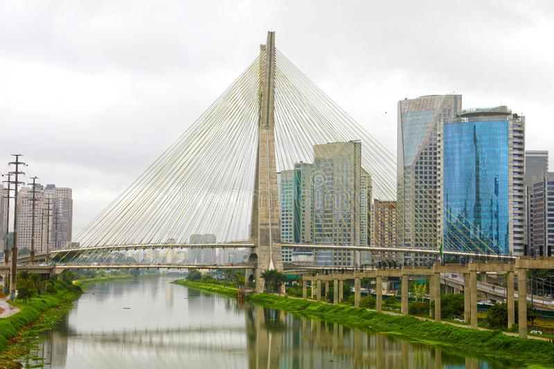 Sao Paulo cityscape landmark Estaiada Bridge reflex in Pinheiros river, Sao Paulo, Brazil stock photo