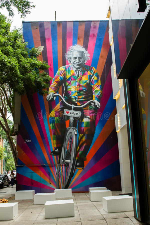 Sao Paulo Einstein Graffiti fotografia de stock