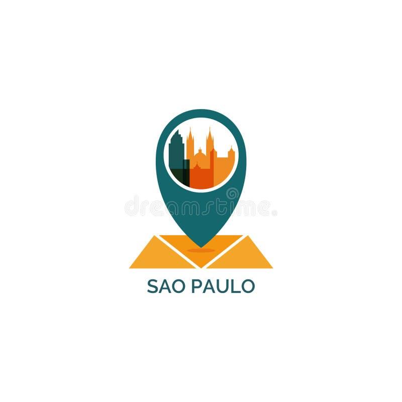 Sao Paulo miasta linii horyzontu sylwetki loga wektorowa ilustracja obrazy stock