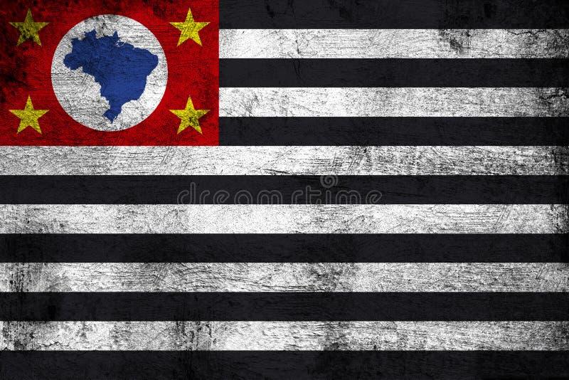 Sao Paulo oxidado y ejemplo de la bandera del grunge stock de ilustración