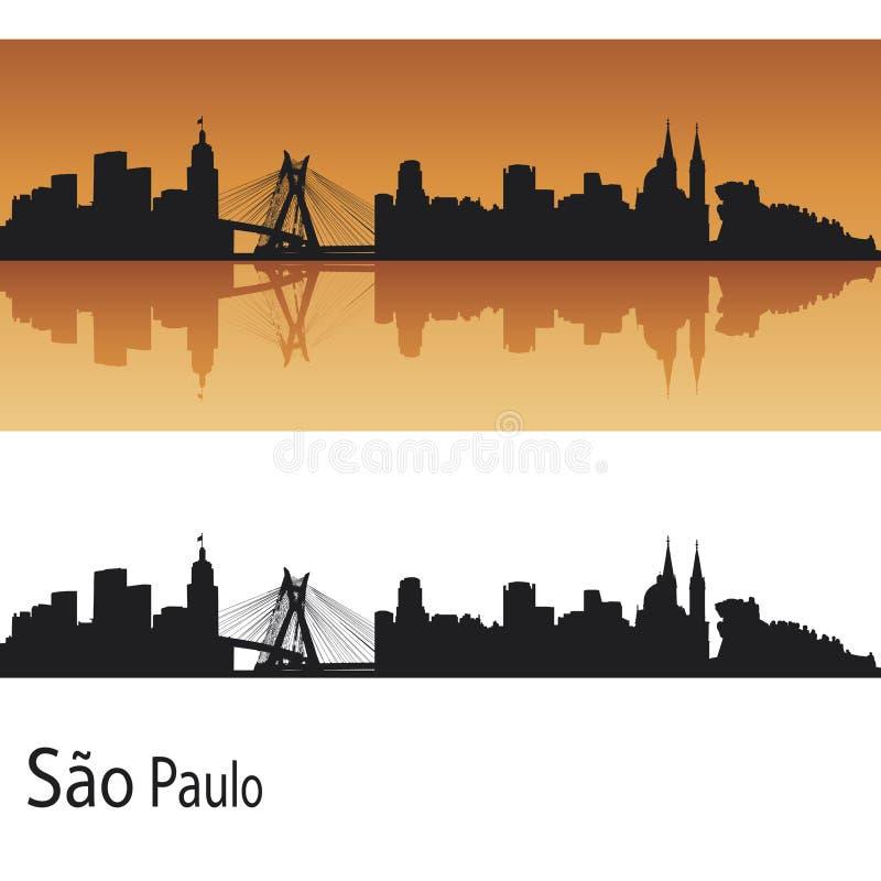 Sao Paulo skyline. In orange background in editable vector file vector illustration