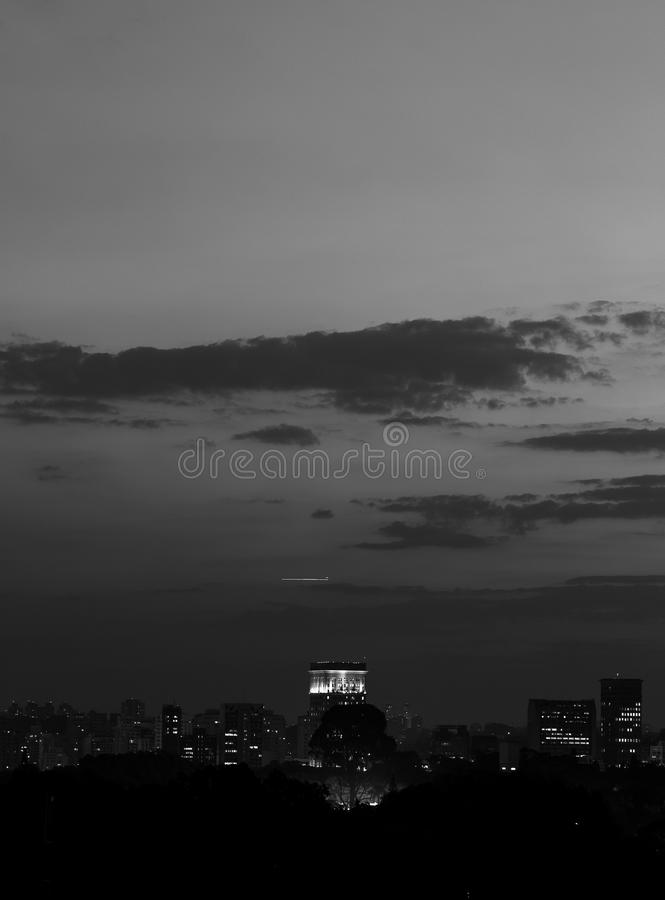 Sao Paulo skyline. In black and white royalty free stock images