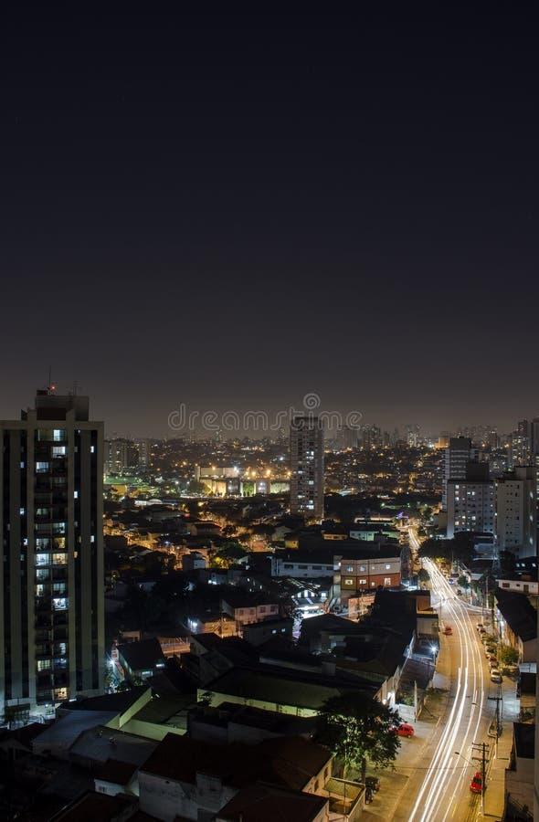 Sao Paulo Skyline Cityscape From Above bij Nacht stock afbeeldingen
