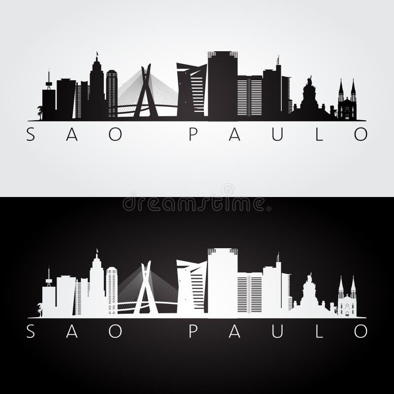 Sao Paulo skyline and landmarks silhouette. Black and white design, vector illustration vector illustration