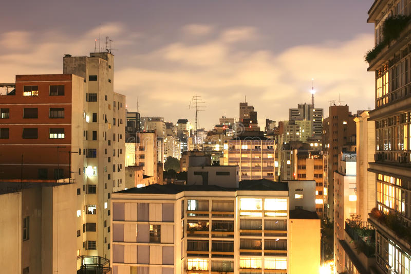 Download Sao Paulo Skyline at night stock photo. Image of bright - 14857954