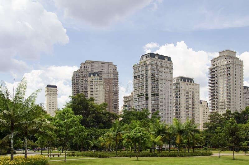 Sao Paulo skyline. Seen from Ibirapuera Park stock image