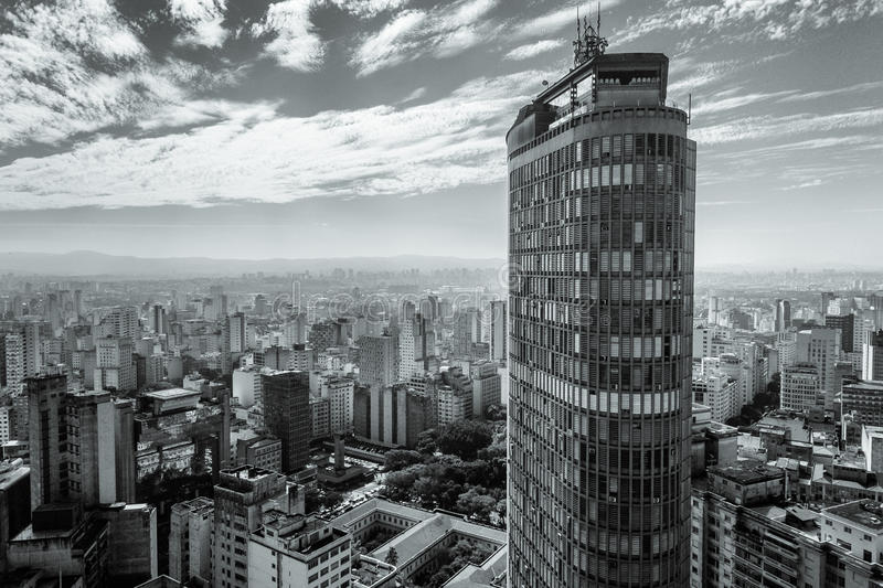 Sao Paulo skyline. View of Sao Paulo skyline in black and white with a skyscraper in the foreground stock image