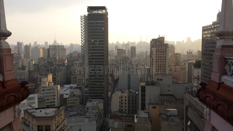 Sao Paulo skyline. View of the Sao Paulo skyline at dusk taken from a skyscraper stock photos