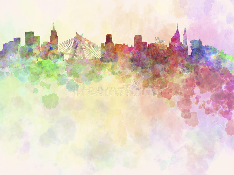 Download Sao Paulo Skyline In Watercolor Background Stock Illustration