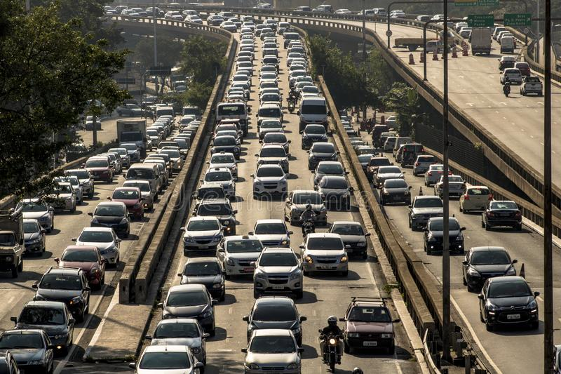 Traffic jam in Radial Leste Avenue. Sao Paulo, SP, Brazil, April 04, 2017. Heavy traffic on the East-West connection, Radial Leste Avenue, at morning day, in royalty free stock photography