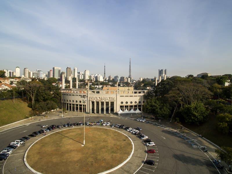 Sao Paulo, SP, Brazil, August, 2017. Aerial view of the Municipal Stadium of Pacaembu, called Paulo Machado de Carvalho. Sao Paulo, SP, Brazil, August, 2017 royalty free stock image