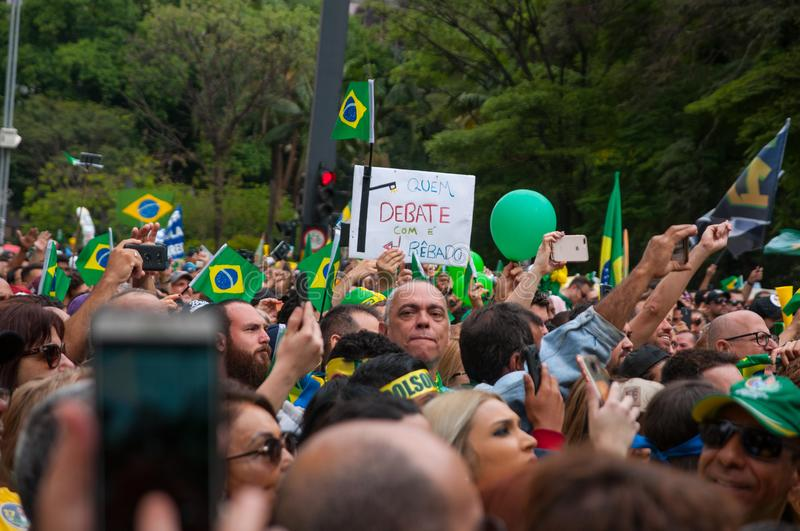 Sao Paulo, SP, Brazil, 2018/10/21, Demonstration pro presidential candidate Jair Bolsonaro on Paulista Avenue royalty free stock photo