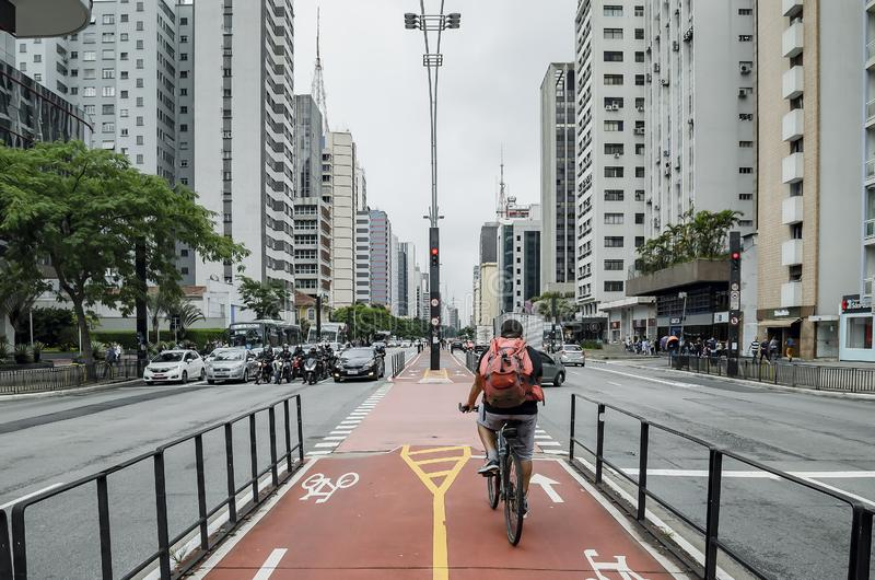 Bicycle path of the Paulista avenue stock photo