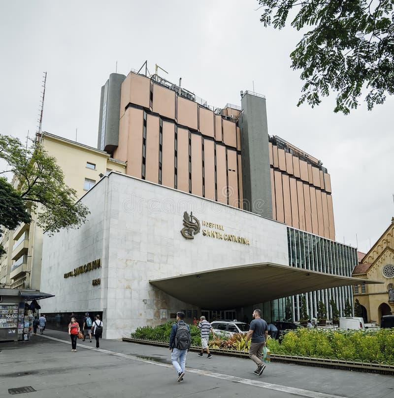 Hospital Santa Catarina, Sao Paulo SP Brazil. Sao Paulo SP, Brazil - March 01, 2019: Facade of Hospital Santa Catarina ACSC - Associacao Congregacao de Santa royalty free stock image