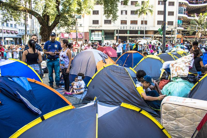 Camp of homeless family. Sao Paulo, SP, Brazil, May 04, 2018. The camp of families occupying a building that collapsed due to a large fire in Paissandu Square royalty free stock images