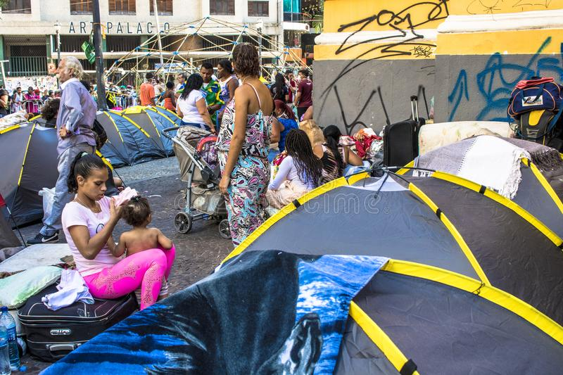 Camp of homeless family. Sao Paulo, SP, Brazil, May 04, 2018. The camp of families occupying a building that collapsed due to a large fire in Paissandu Square stock photos