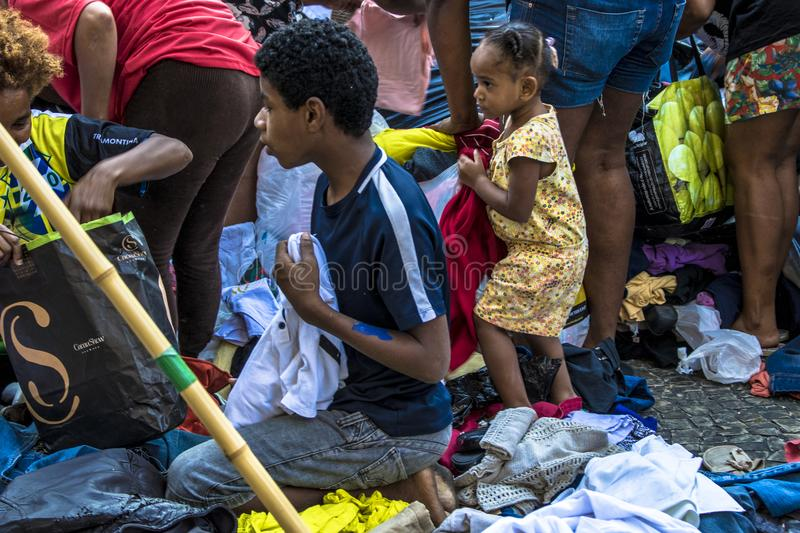 Camp of homeless family in paissandu Square. Sao Paulo, SP, Brazil, May 04, 2018. The camp of families occupying a building that collapsed due to a large fire in stock photo