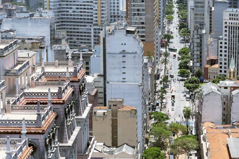Sao Joao avenue, Sao Paulo SP. Sao Paulo SP, Brazil - November 22, 2019: View of part of Edificio Martinelli, Martinelli building and the Sao Joao avenue stock image