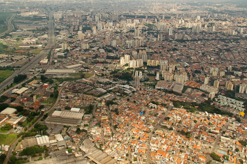 Sao Paulo-Vogelperspektive - Brasilien stockfotos