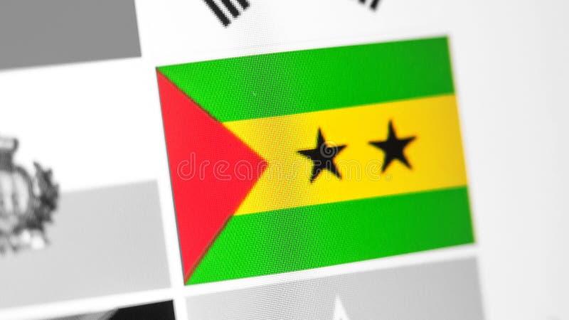 Sao Principe i woluminu flaga państowowa kraj Sao Principe i wolumin zaznaczamy na pokazie, cyfrowy mora skutek obrazy stock