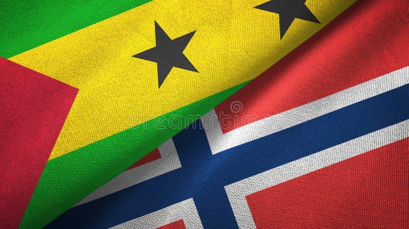 Sao Tomé en Principe en Noorwegen twee vlaggen stock illustratie