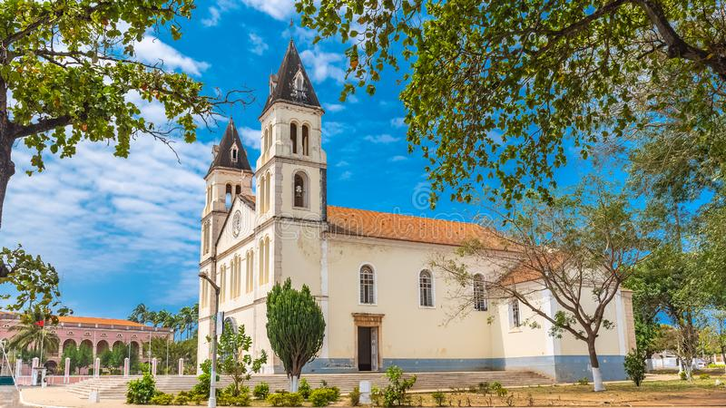 Sao Tome, the cathedral. Sao Tome, the beautiful white cathedral in the center, Sao Tome and Principe royalty free stock photos