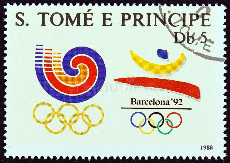 SAO TOME AND PRINCIPE - CIRCA 1988: A stamp printed in Sao Tome shows Olympic Games, Seoul and Barcelona emblems. stock photos