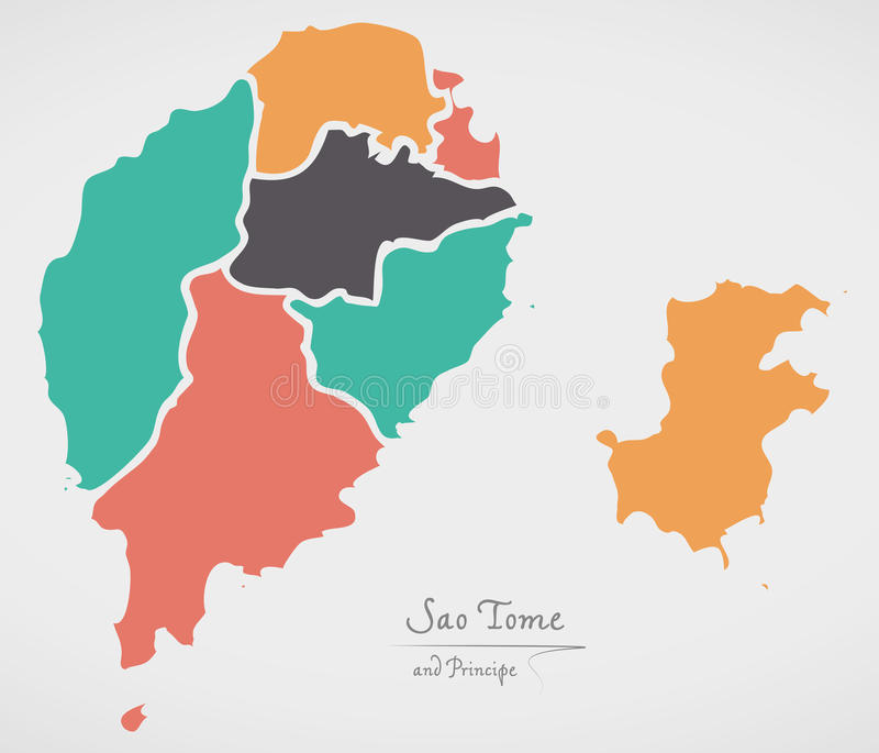 Sao Tome and Principe Map with states and modern round shapes. Illustration royalty free illustration