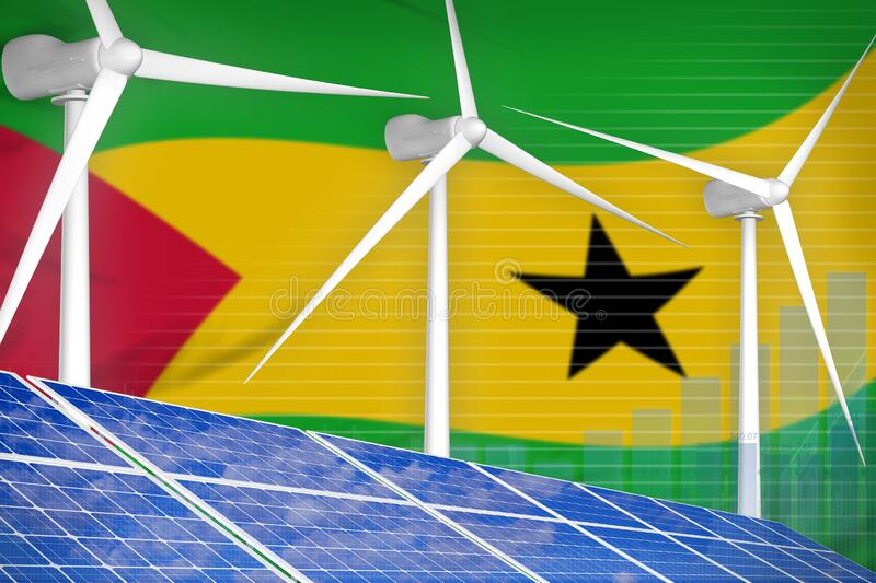 Sao Tome and Principe solar and wind energy digital graph concept - environmental natural energy industrial illustration. 3D. Sao Tome and Principe solar and vector illustration
