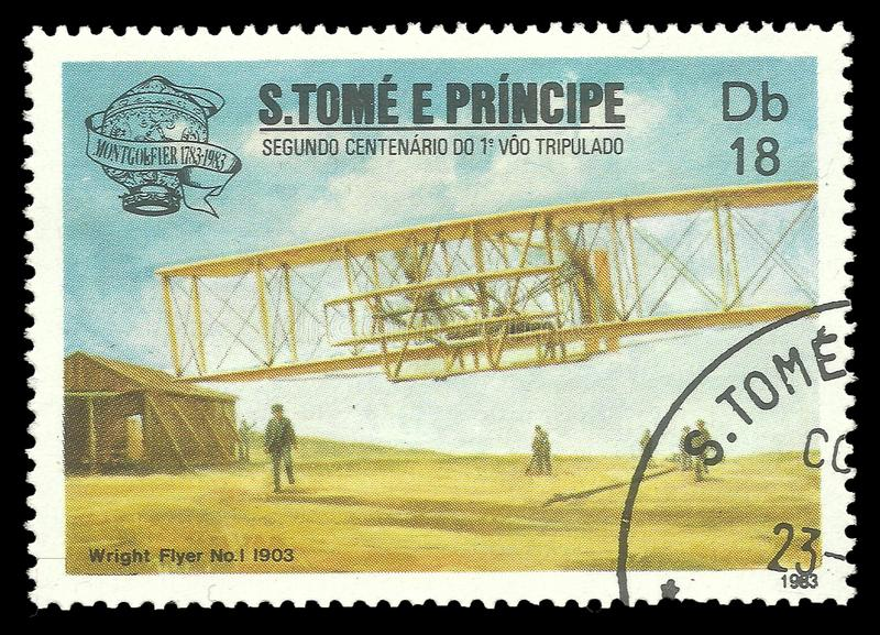First Manned Flight Bicentenary, Wright Flyer. Sao Tome and Principe - stamp printed 1983, Multicolor memorable edition offset printing, Topic Airlines and stock images