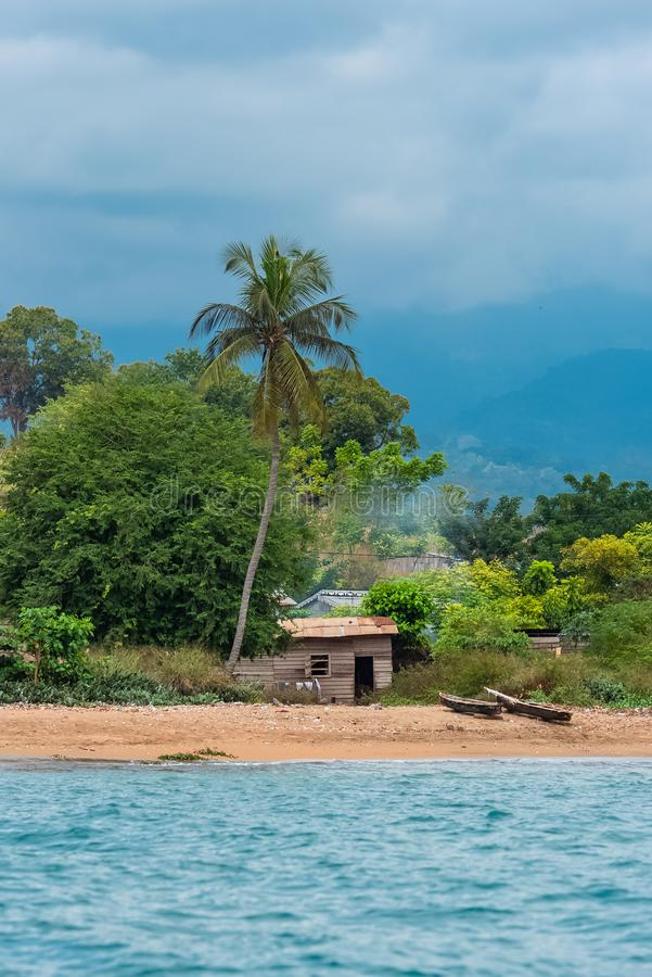 Sao Tome, traditional wooden dugouts royalty free stock image