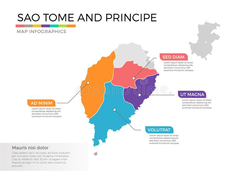 Sao- Tome und Principekarte infographics Vektorschablone mit Regionen und Zeigerkennzeichen lizenzfreie abbildung