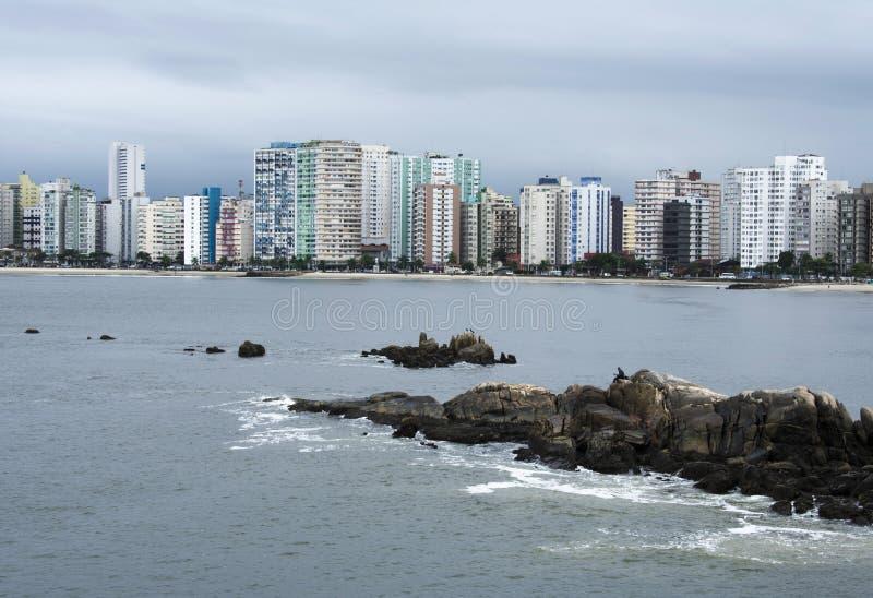 sao vicente el Brasil de la ciudad de la playa fotografía de archivo