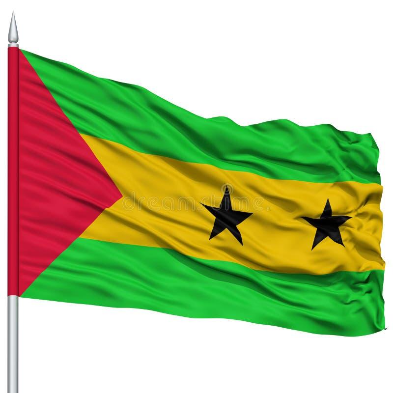 Sao wolumin i Principe flaga na Flagpole zdjęcia stock