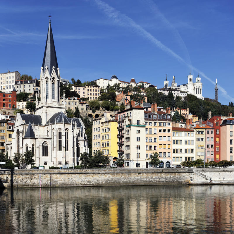 Saone river and church. View of Lyon and Saone River in morning stock photos