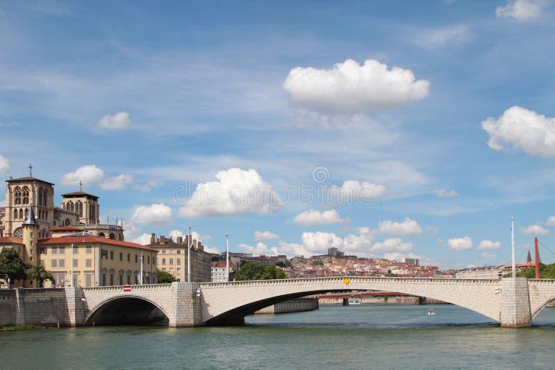 Saone River e Pont Bonaparte imagens de stock