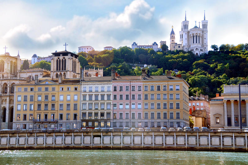 Saone river and Fourviere basilica in the background Lyon France. Horizontal composition stock photography
