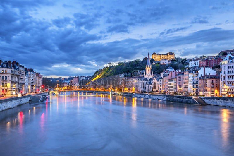 The Saone river in Lyon city. At evening, France stock image