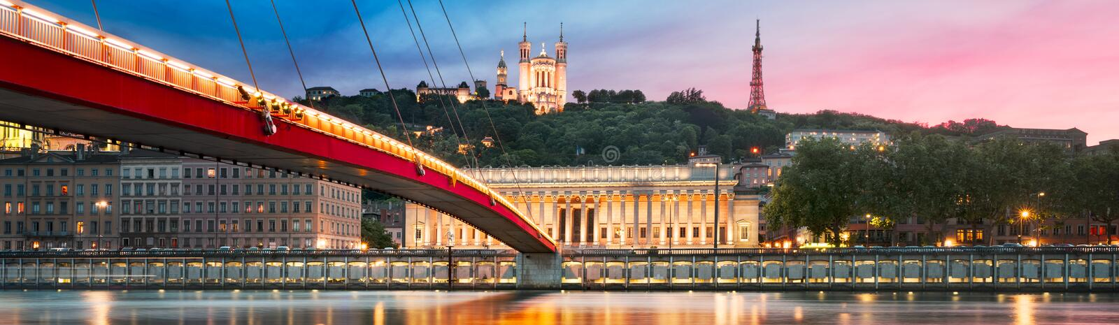Saone river Lyon, France. View of Saone river at sunset,Lyon, France stock image