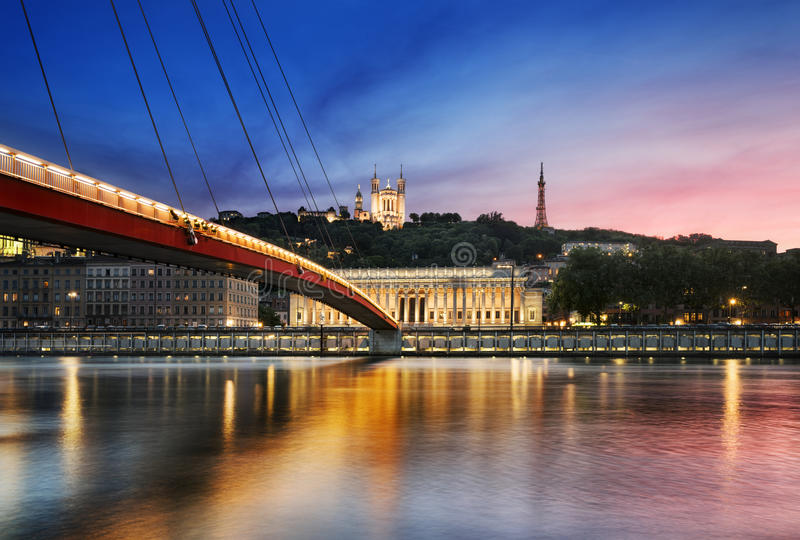 Saone river Lyon, France. View of Saone river at sunset,Lyon, France royalty free stock images