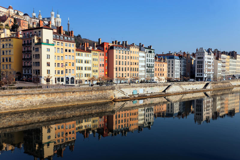 Saone River in the morning light. View of Lyon and Saone River in the morning light royalty free stock images