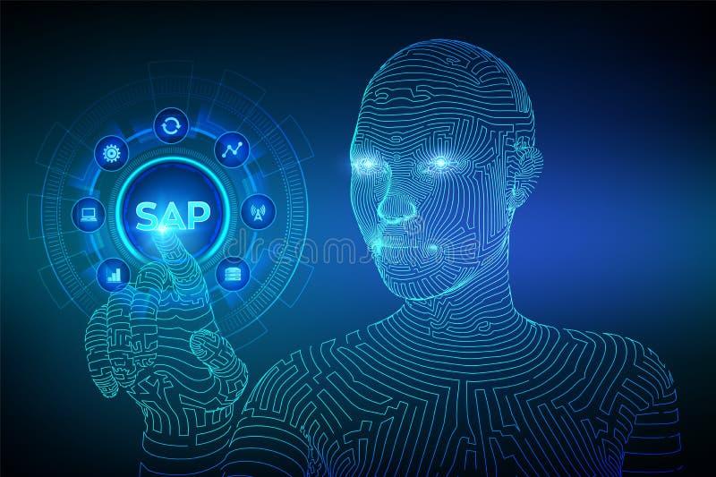 SAP商业运作自动化软件 ERP企业在虚屏上的资源分配系统概念 Wireframed靠机械装置维持生命的人 向量例证